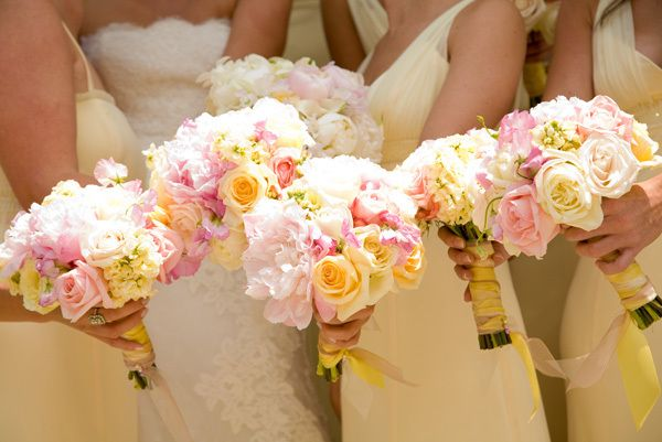 Pale Pink and Yellow Bridal Bouquets Evantine Design Philadelphia Wedding Planners