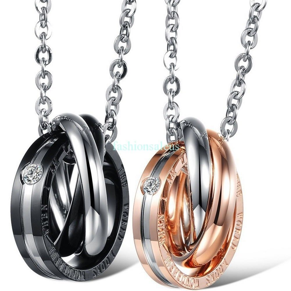 Couples Mens Womens Stainless Steel Triple Rings Pendant Necklace Valentine Gift