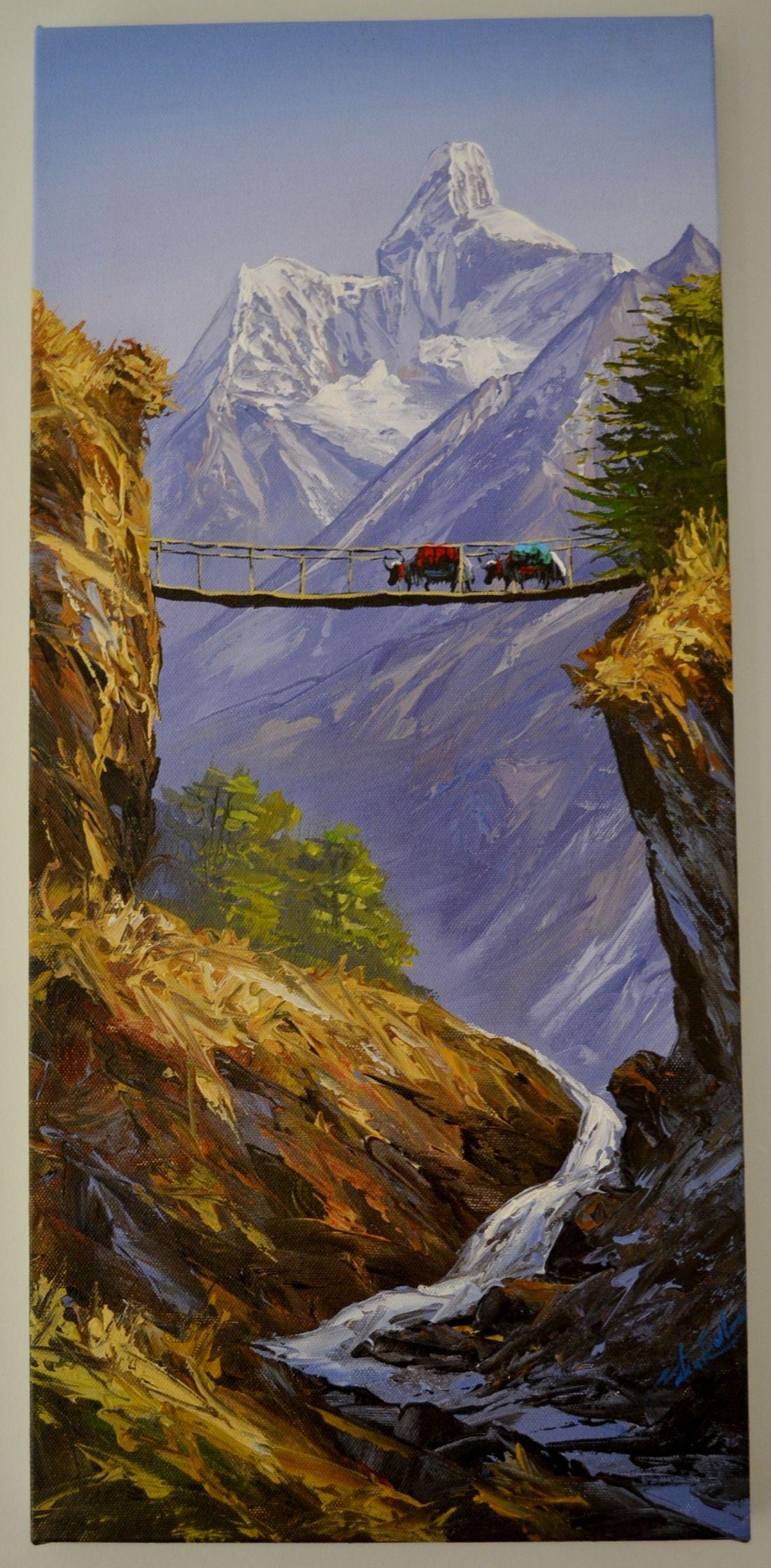 Paintings From Nepal Hanging Bridge Nepal Art Mountain Paintings Watercolor Landscape Paintings