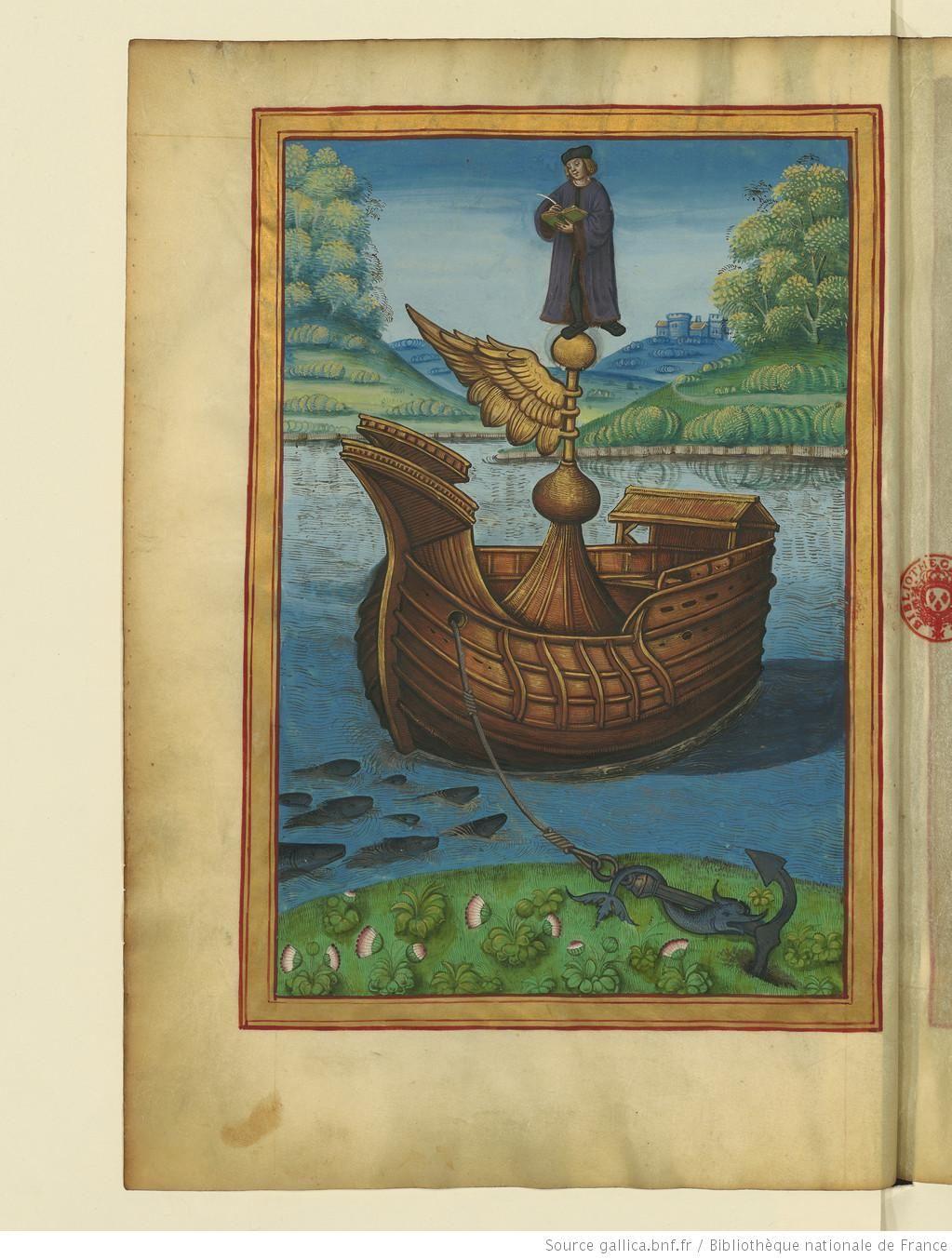 l 39 auteur composant son trait perch sur le navire de fortune ca 1510 in trait des vertus. Black Bedroom Furniture Sets. Home Design Ideas