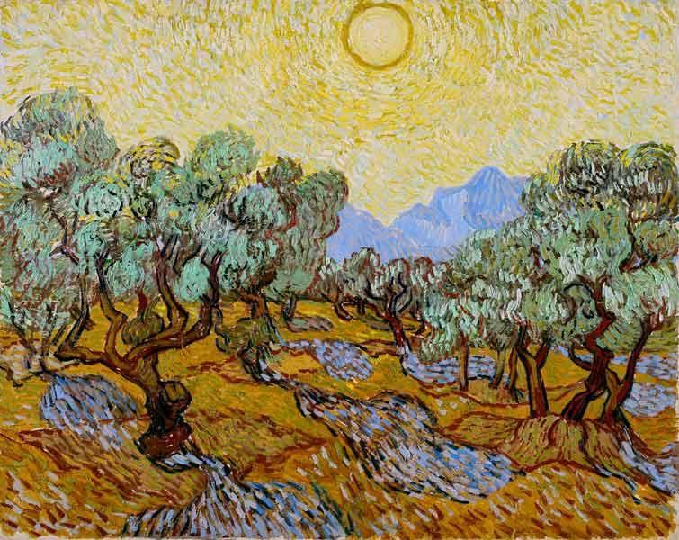 Vincent Van Gogh - Olivos con cielo amarillo y sol