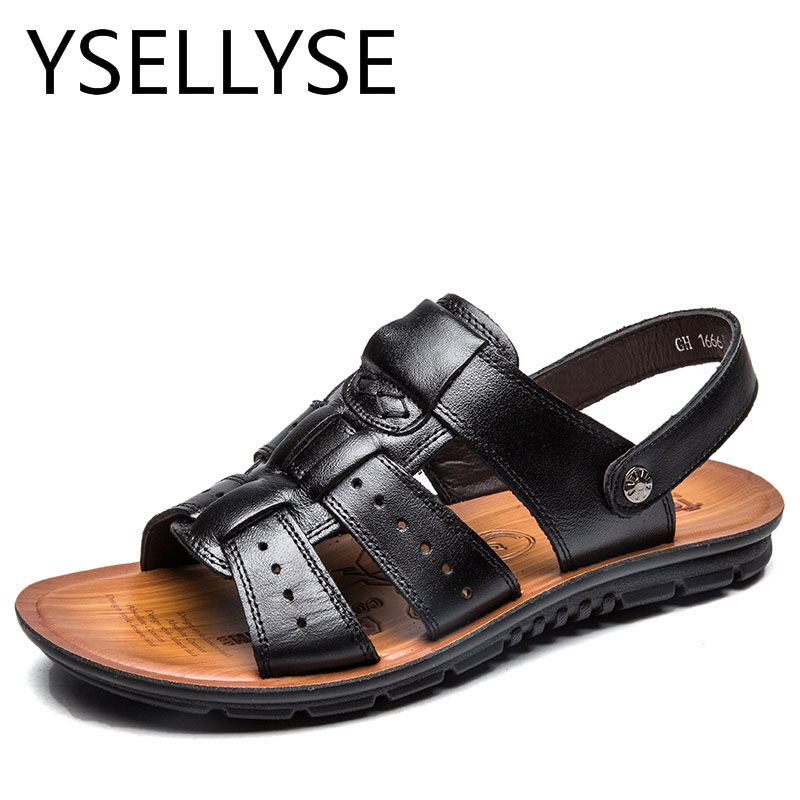 Plus Talla 47 Hombre Genuine Leather Beach Beach Leather Zapatos Slippers Verano Air f364df
