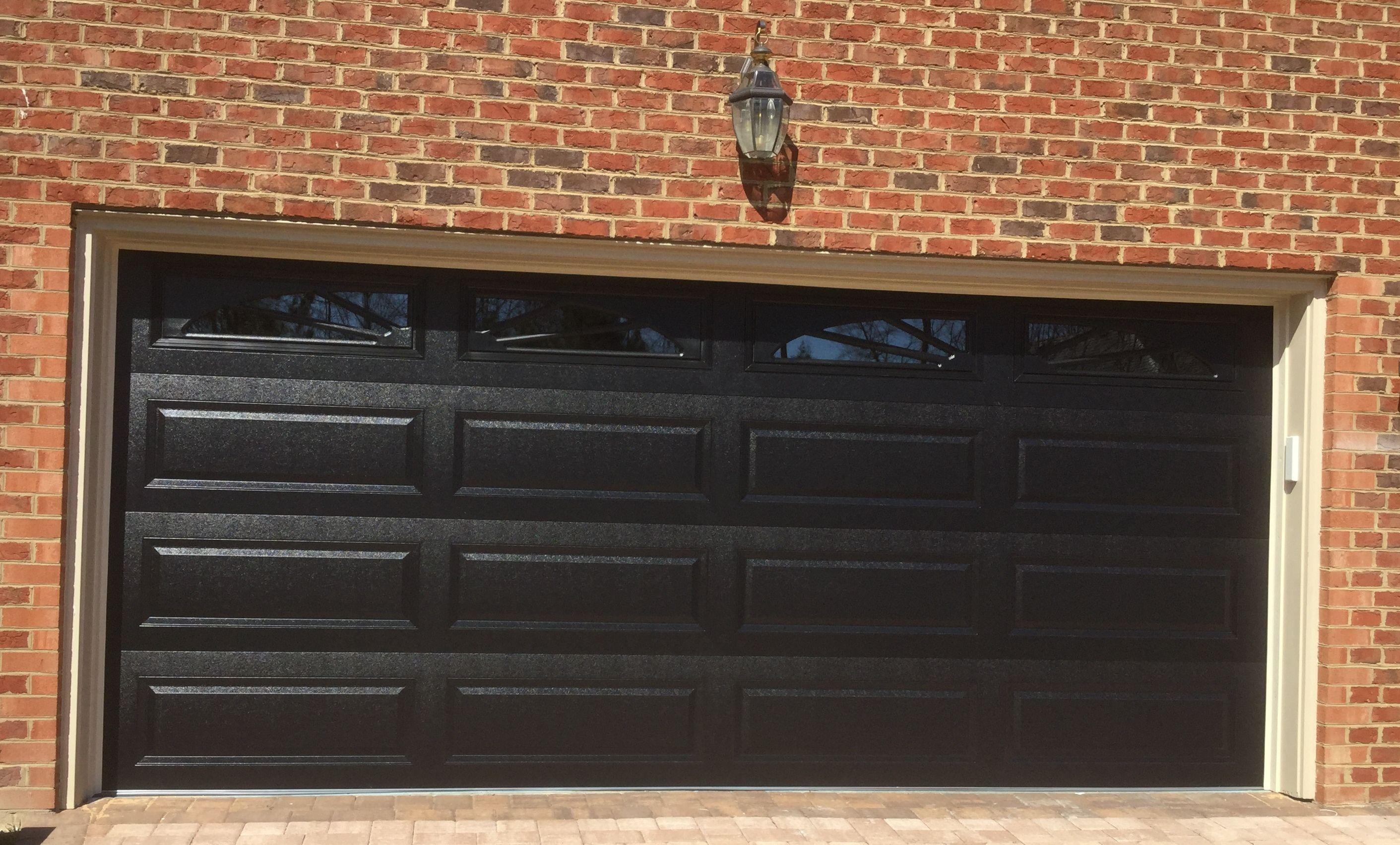 16x7 Model 4216 Raised Long Panel Steel Garage Door Black With Top