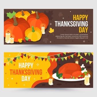 Download Flat Design Thanksgiving Banners Set For Free Thanksgiving Banner Happy Thanksgiving Day Card Design