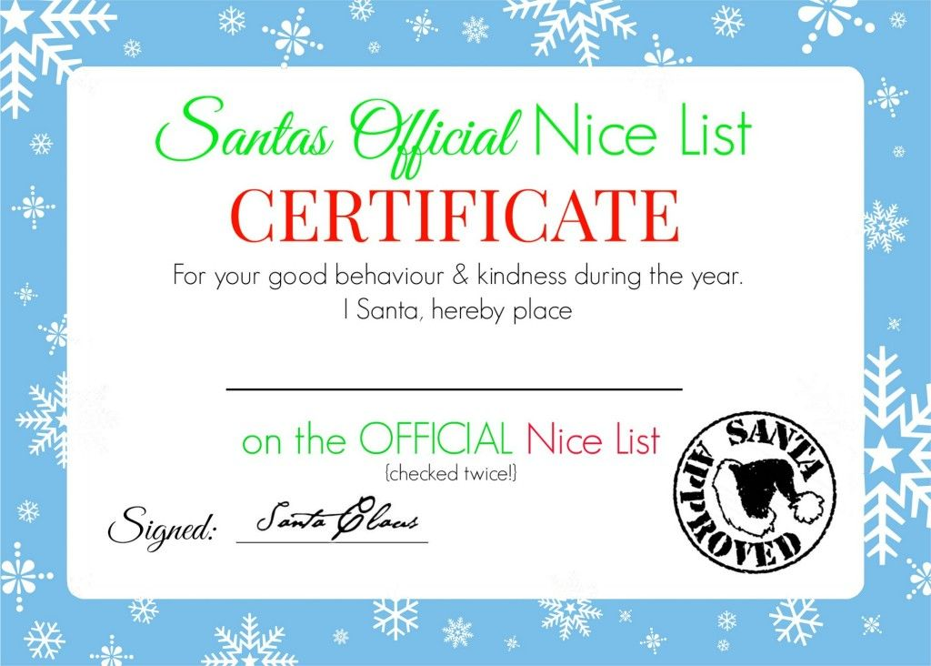 Christmas Nice List Certificate - Free Printable Nice list - Christmas Certificates Templates For Word