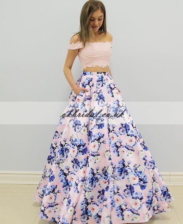Off Shoulder Two Pieces Prom Dress, Lace Top A-Line Satin