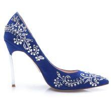 Blue Point Toe Embroidered Rhinestone High Heels Shoes - Sheinside.com