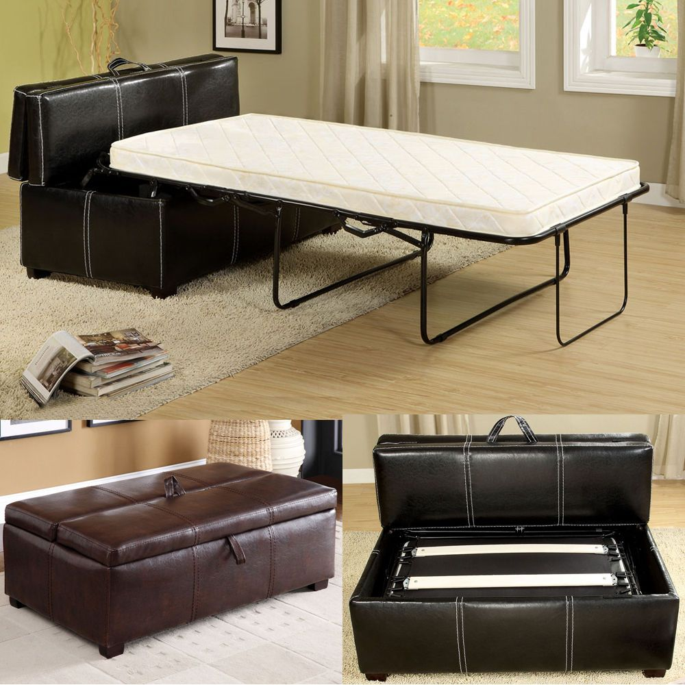 Black Brown Leatherette Storage Ottoman Bench Twin Foldable Bed ...