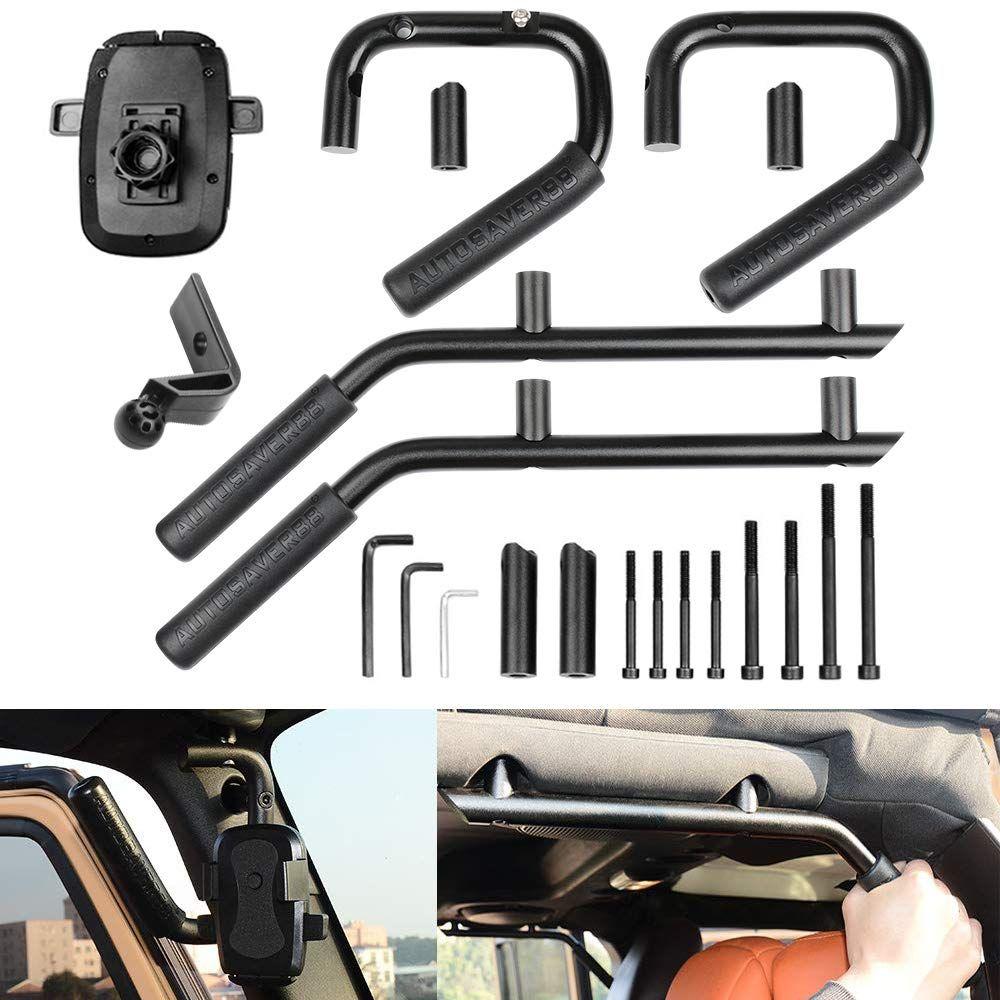 Black Roll Bar Grips Front Grab Bar Handles for 2007-2018 Jeep JK Wrangler /& Unlimited