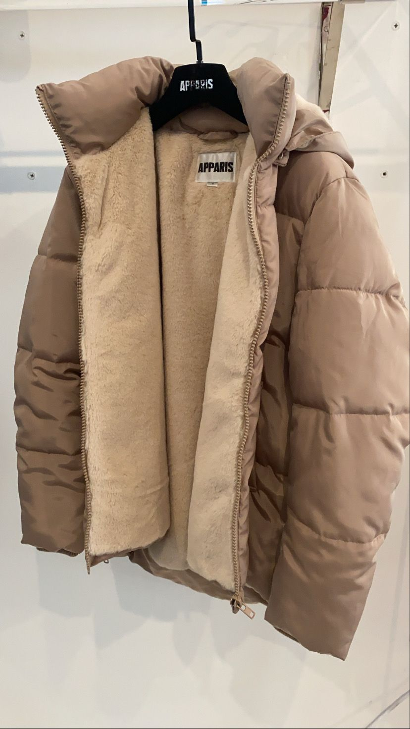 Aman Taupe Puffer Jacket Outfit Girls Fashion Clothes Jacket Outfits [ 1472 x 828 Pixel ]