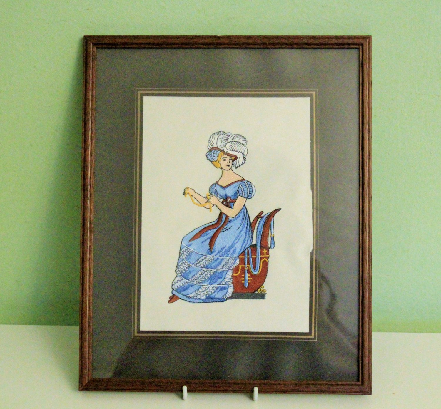 Framed Embroidery Picture Victorian Women Blue Dress, Wall Hanging ...