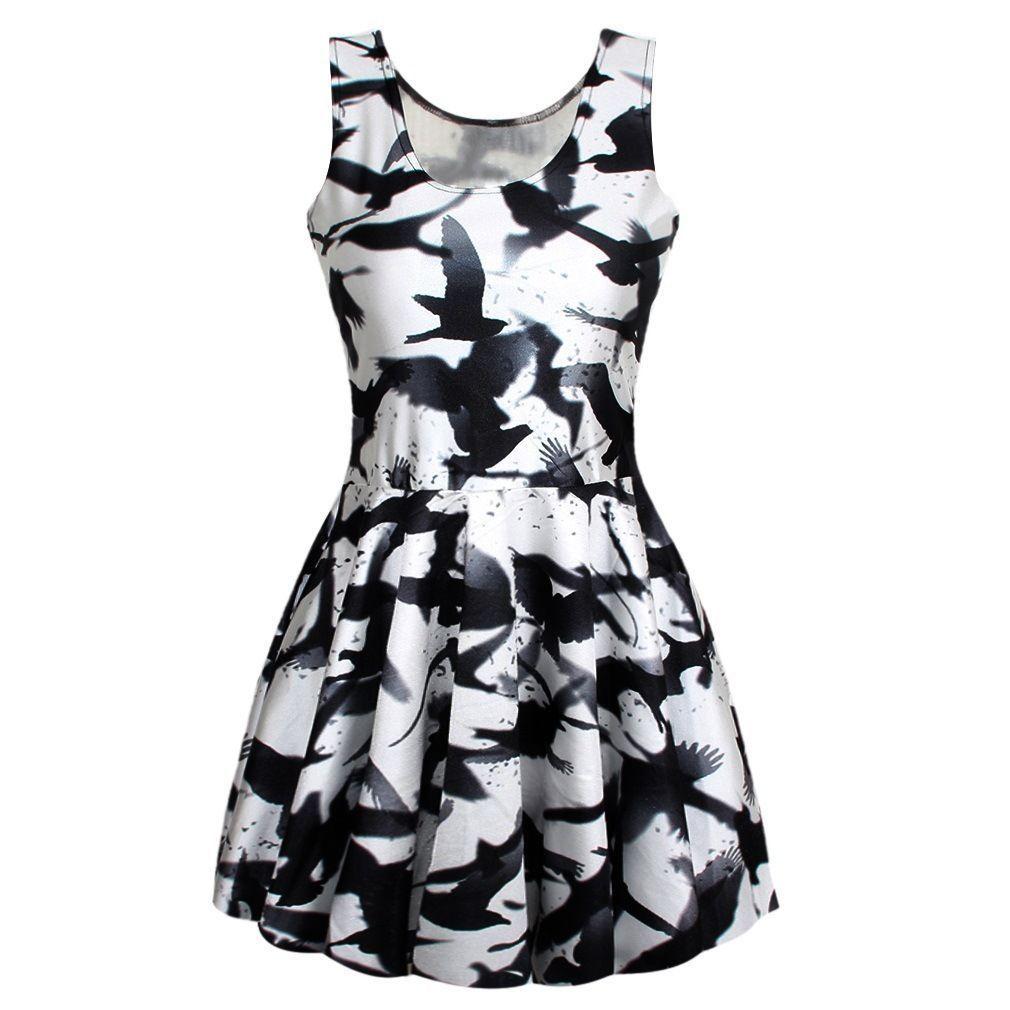 a0a0fa3839af Women 3D Bird Silhouette Print Singlet Slim Sleeveless Pleated Skater Dress
