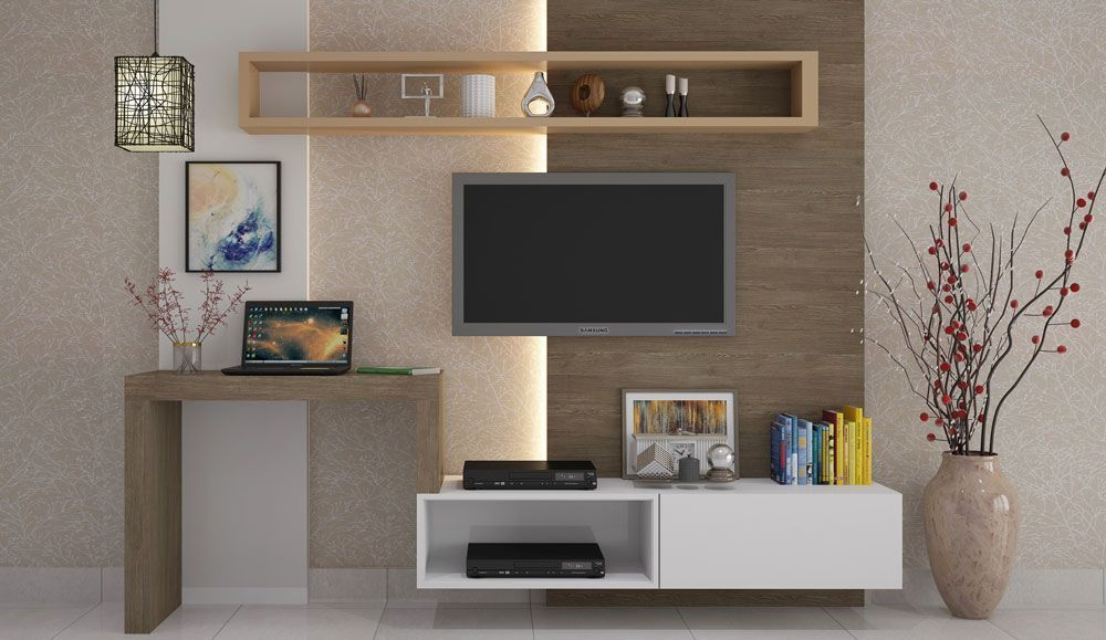 #tv unit design With Study Table in 2020   Simple tv unit ...