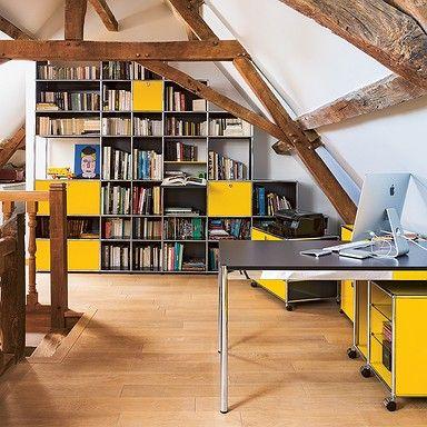 Meuble de biblioth que usm haller jaune or espace priv for Meuble bureau jaune