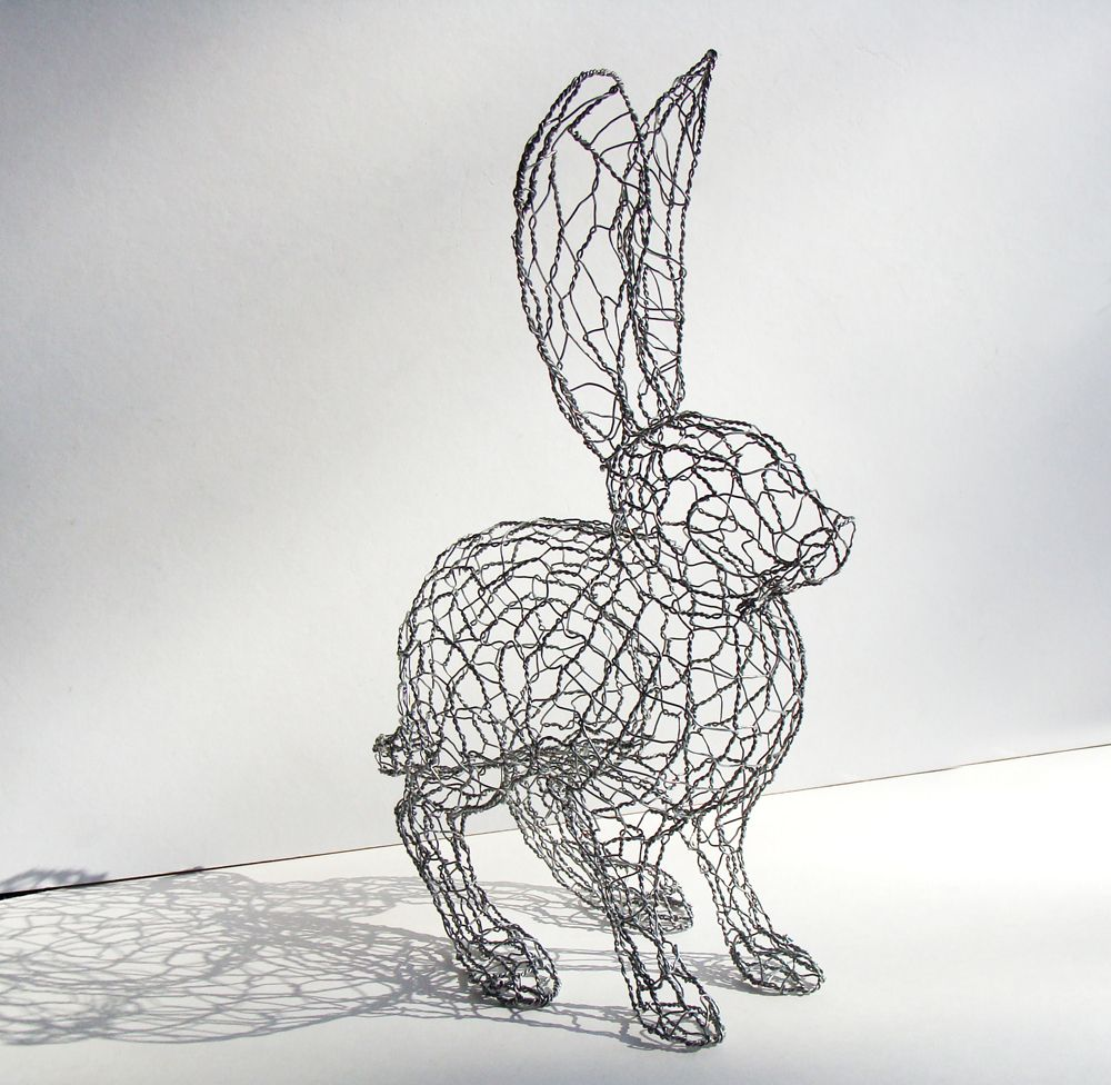 Hare sculpture chicken wire hare pinterest for Chicken wire sculptures uk