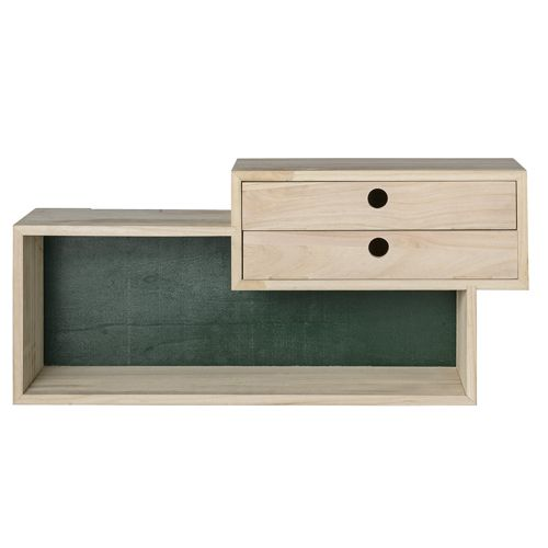 etag re murale en bois naturel et vert 2 tiroirs. Black Bedroom Furniture Sets. Home Design Ideas