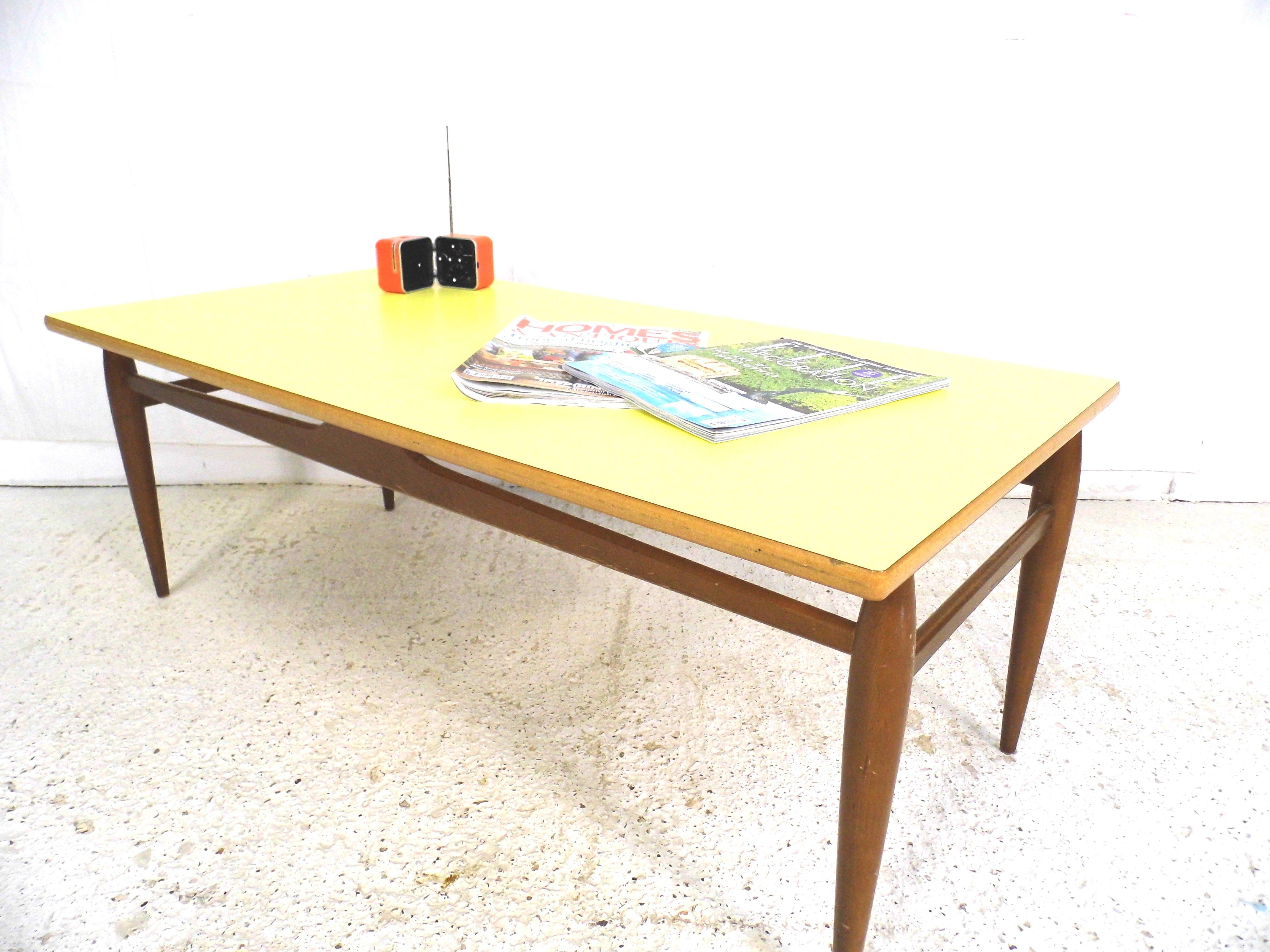 Vintage retro 1970s Gplan Nathan coffee table with yellow formica