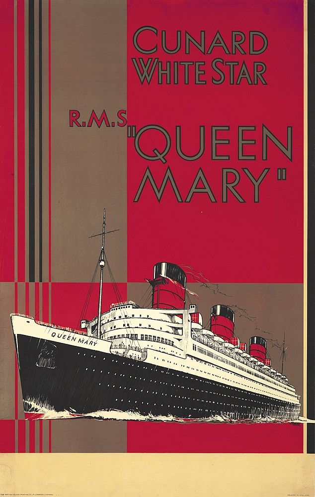 Artist: JARVIS Size: 25 x 39 3/4 in./63.5 x 101 cm British Colour Printing, London From 1936 to 1967, the RMS Queen Mary was one of the more luxurious ships traversing the North Atlantic. Part of Cunard's weekly express service between New York, Southampton, and Cherbourg, it frequently held the Blue Riband for fastest documented speed.
