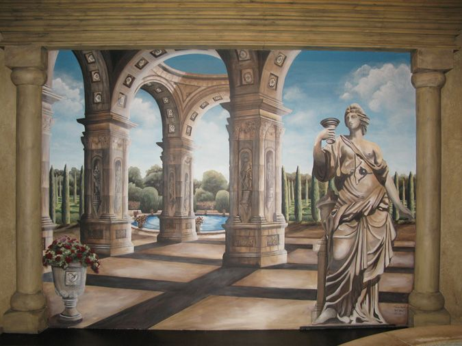 Mural Painting Tromp Lu0027oeil Italian Landscapes Hand Painted Murals For Walls  Ideas Interior Design Wall Art Mural Artist Muralist Murals Seattle Bellevue Part 61
