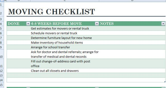 Moving Packing Checklist Template This Template Is Very