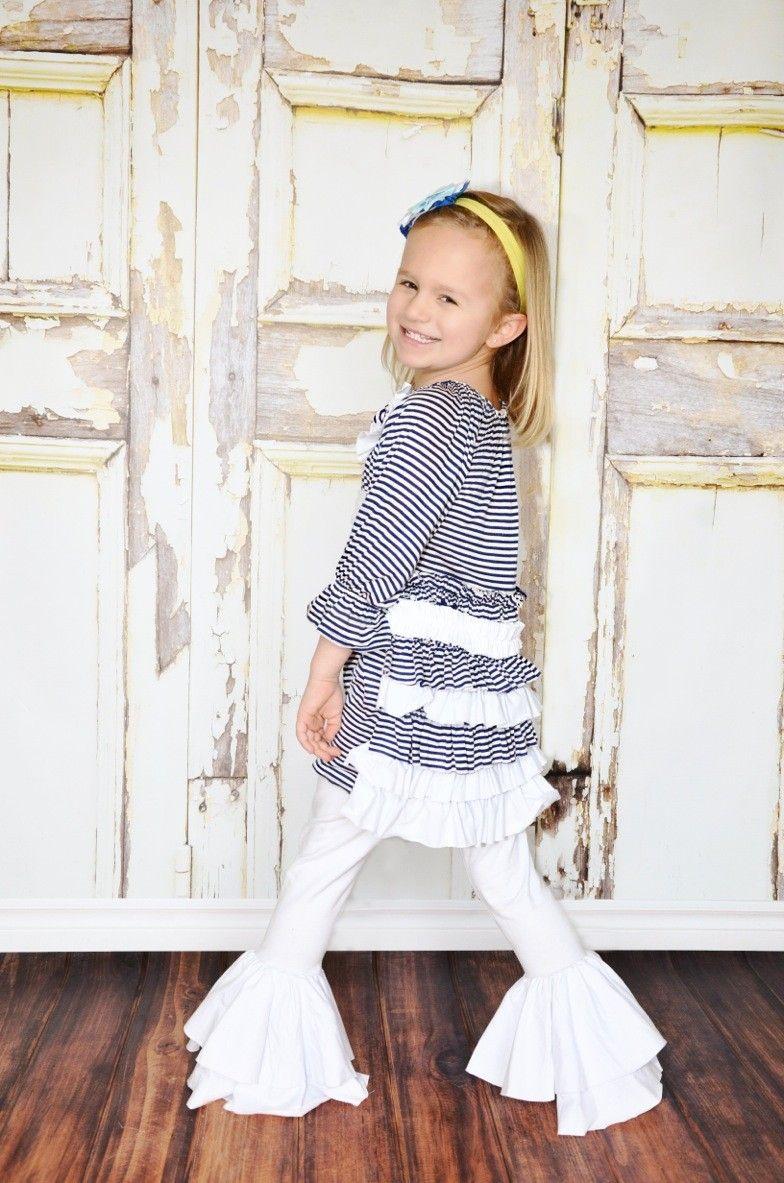 Pixie Girl Raglan Navy Stripe Ruffle Dress 2T, 3T, 4, 5, 7 $39.99 - Bitty Birdie Boutique