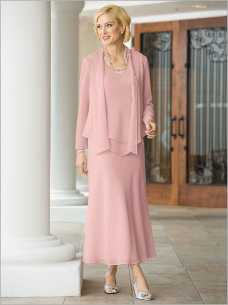 a326a0f93777a Radiant Georgette Jacket Dress in 2019 | Wedding | Jacket Dress, Bridesmaid  dresses, Mother of the bride trouser suits