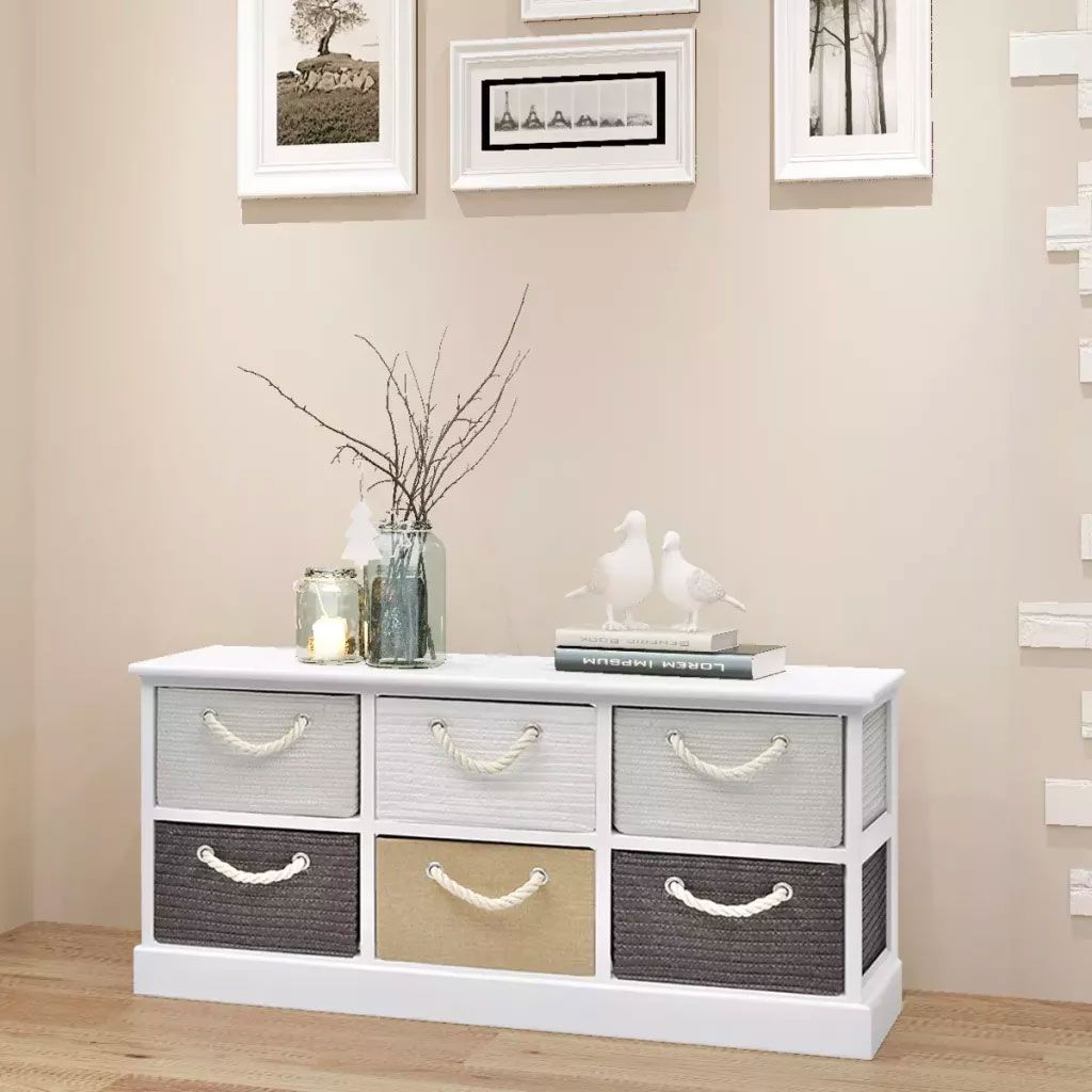 Rustic Storage Bench 6 Drawers Wood Bedroom Storage Cabinets