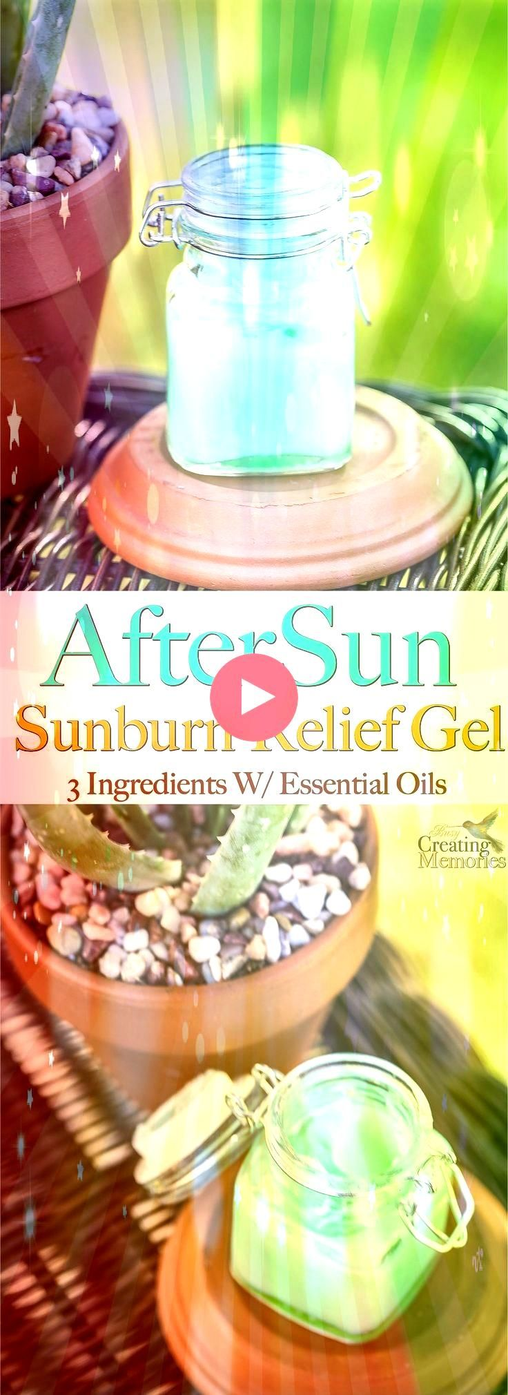 Homemade AfterSun Sunburn Relief Gel w 3 ingredients Say Goodbye to Painful Itchy Peeling sunburns This AfterSun Sunburn relief Gel instantly Soothes Cools heals and mois...