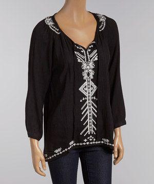 Look at this #zulilyfind! Black & White Embroidered Peasant Top by Jai Creations #zulilyfinds
