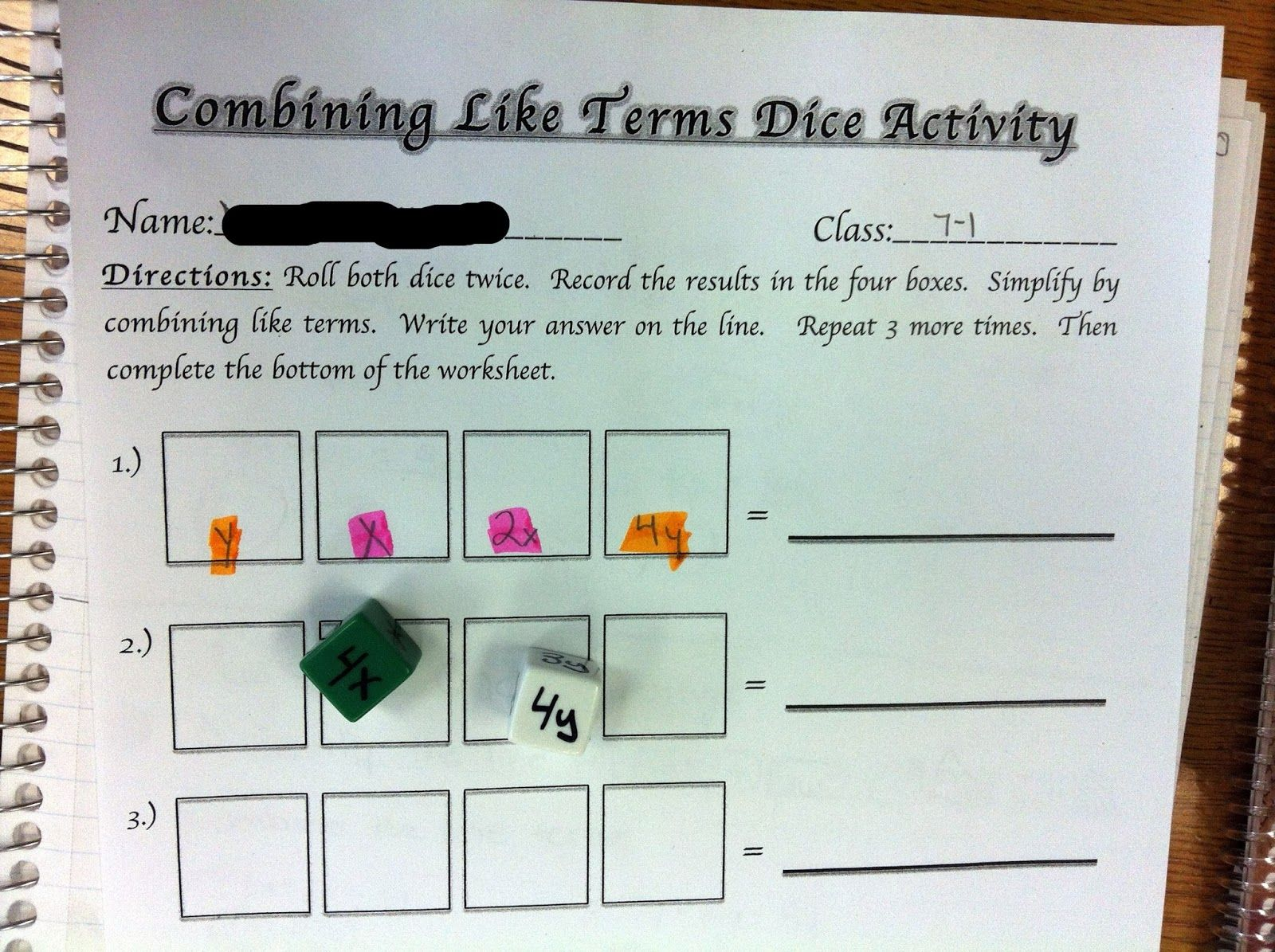 Combining Like Terms Dice Activity