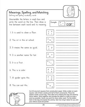 Meanings, Spellings, and Matching - Free English Worksheet for ...
