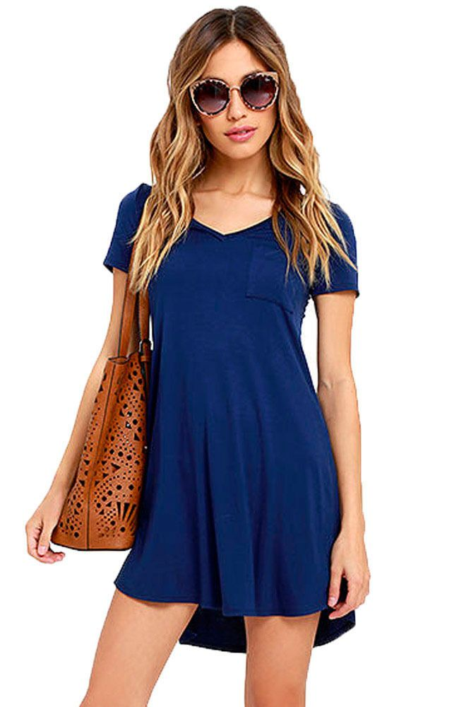 Blue Tshirt Dress Tunic Short Sleeve V neck Top Gray Tee Casual 22985 M   GabriellesLingerie 140be8972
