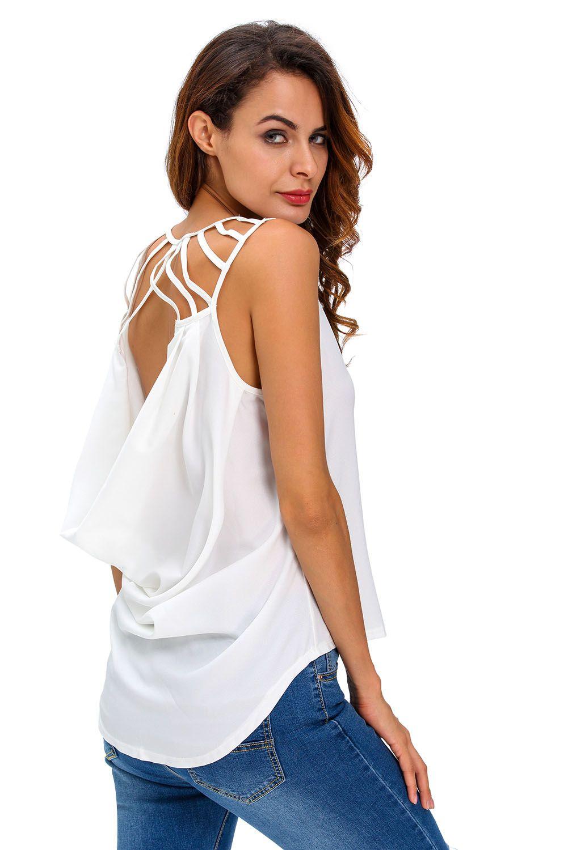 1ba3463b87052 White Cut out Draped Back Clubwear Top