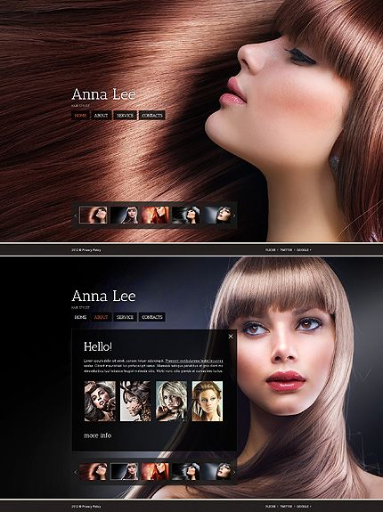 Template 38913 - Hair Stylist Single Page Website Template With ...