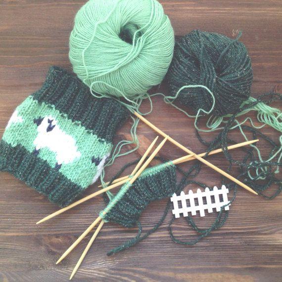 Green Boot Cuffs With Sheep Design PDF Knitting Pattern