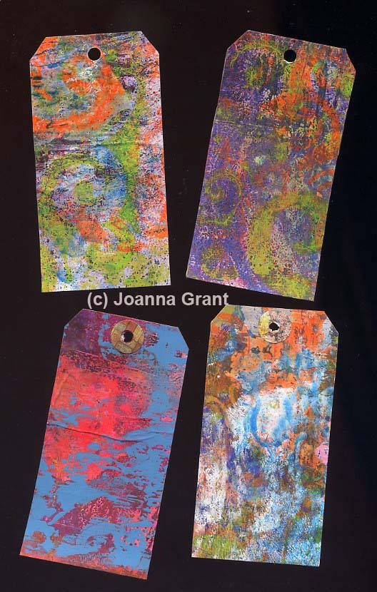 Joanna Grant Part 1 - Some recycled shipping tags that have been Gelli plate printed. Fun!!