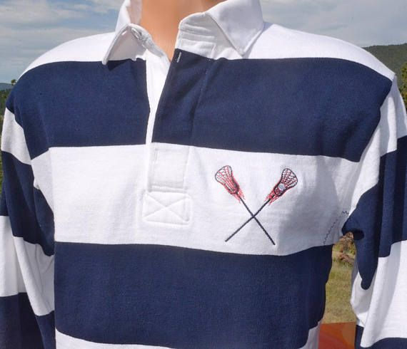 Vintage 80s Rugby Shirt Lacrosse Stripe Navy Blue White Lax Long Sleeve Rugby Shirts Rugby Shirt Golf Shirts