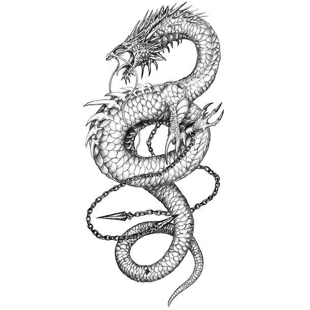 Awesome Chinese Dragon Tattoo Design