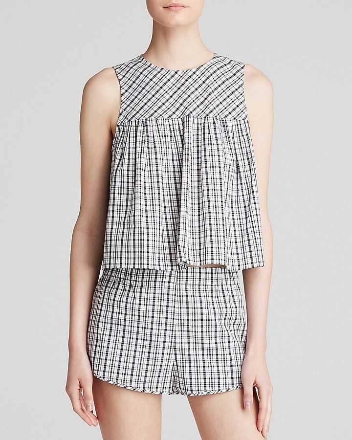 Why Gingham Is This Season's Go-To Print - Spring 2015 - Aqua Gingham Smock Top