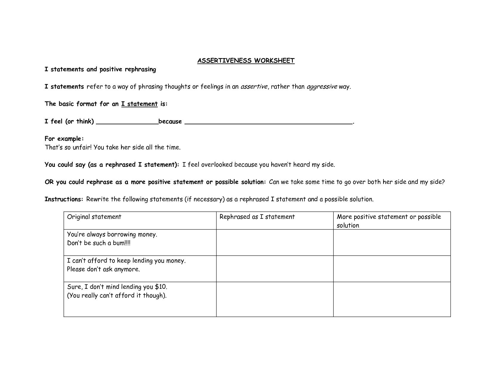 Classified Healthy Relationships Worksheets