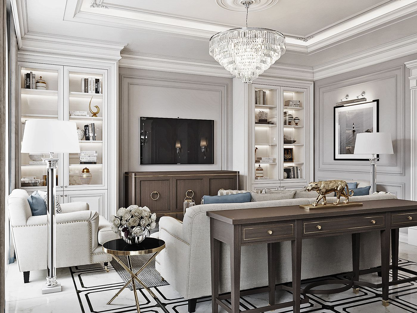 The Apartment In Vladimir Livingroom New Classic Style On Behance Desain Interior Desain Rumah Rumah