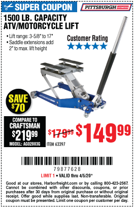 Pittsburgh Automotive 1500 Lb Capacity Atv Motorcycle Lift For 149 99 Harbor Freight Tools Harbor Freight Coupon Automotive