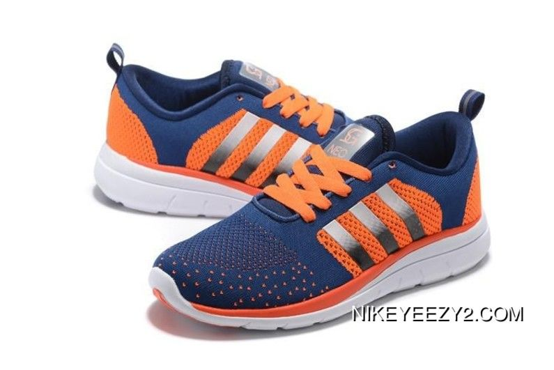 069385302d9e 2018 的 Adidas Neo Flyknit Unisex Running Shoes Dark Blue Orange ...