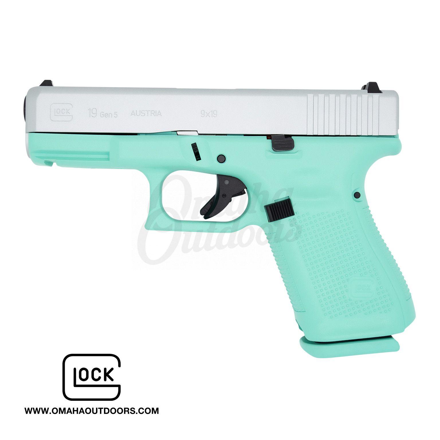 Glock 19 Gen 5 Vera Blue Frame Pistol Satin Aluminum Slide