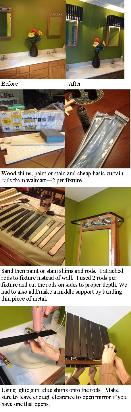 A great, easy and cheap way to cover up those 90's Hollywood light on room lighting ideas, sink lighting ideas, desk lighting ideas, swag lighting ideas, post lighting ideas, entry hall lighting ideas, bed lighting ideas, double sink vanities ideas, interior lighting ideas, cheap lighting ideas, residential lighting ideas, vanity lights, decorative lighting ideas, chandelier lighting ideas, walk in shower lighting ideas, task lighting ideas, toilet paper holders ideas, closet lighting ideas, apartment lighting ideas, bathroom lighting ideas,