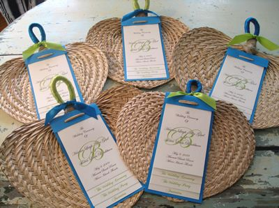 Guest Fans Will Be On Their Chairs When They Arrive At The Beach Wedding ProgramsWedding
