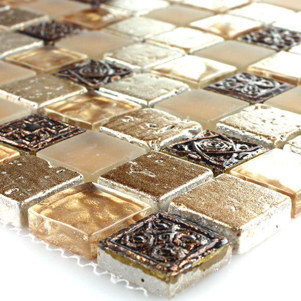 Glas Marmor Mosaik Marmorglas Fliesen Beige Mix Xxmm Matte - Mosaik fliesen braun gold