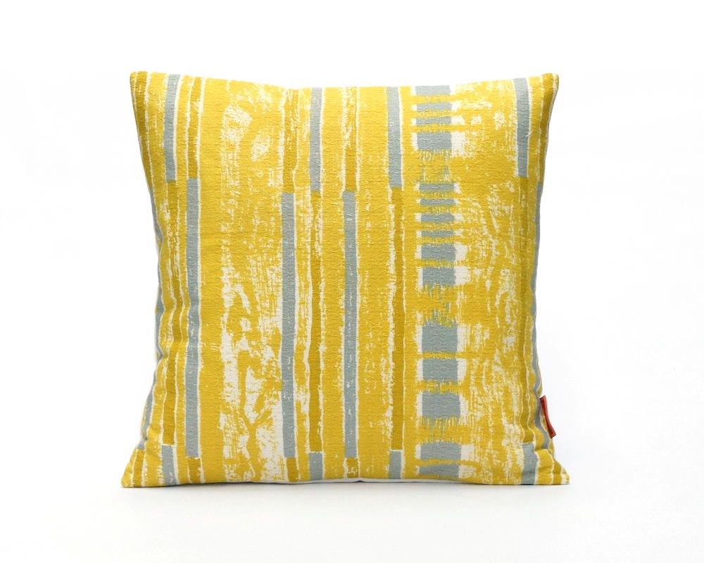 Mid century pillow cover in yellow and gray modern throw pillow