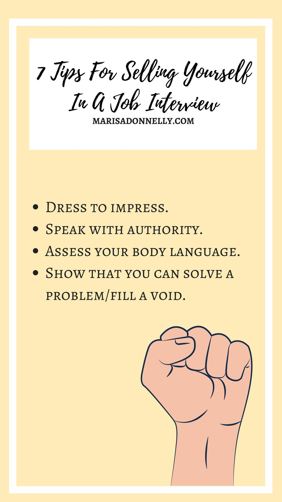 How To Sell Yourself In A Job Interview Marisa Donnelly Job Interview Interview Resume Tips