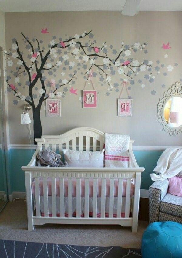 Babyzimmer wandgestaltung mädchen  Pin von jacqueline hölzel auf babyzimmer   Pinterest   Kinderzimmer ...